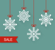 Christmas paper card. Sale. Vector flat illustration. Royalty Free Stock Image