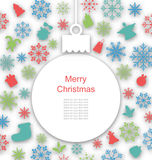 Christmas Paper Card with Traditional Elements Royalty Free Stock Photo