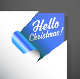 Christmas paper corner cut out with Hello Christmas text uncover Stock Photo