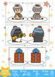 Christmas Paper Crafts for children. Sheep, Penguin and gift. Education Christmas Paper Crafts for children. Sheep, Penguin and Christmas gift. Use scissors and royalty free illustration