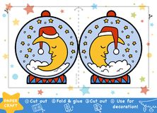 Christmas Paper Crafts for children, Snowball with a half moon. Education Christmas Paper Crafts for children, Snowball with a half moon. Use scissors and glue vector illustration