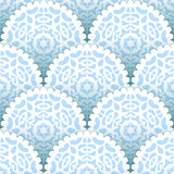 Christmas paper doilies snowflakes seamless pattern in blue and white, vector Royalty Free Stock Photography