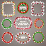 Christmas Paper Garlands Frames with a Copy Space Stock Image