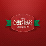 Christmas paper greeting red Card and green Ribbon Stock Photo