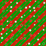 Christmas paper. Illustration of a green and red christmas background with stripes and stars stock illustration