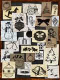 Christmas paper ornament on blackboard Royalty Free Stock Images