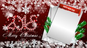 Christmas paper realistic  illustration. White curl paper with curved corner  Royalty Free Stock Photography