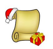 Christmas paper scroll card with santa cap,hat and gift. vector illustration  on white background. Royalty Free Stock Photos