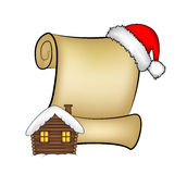 Christmas paper scroll card with santa cap,hat and snowy house. vector illustration isolated on white background. Stock Image
