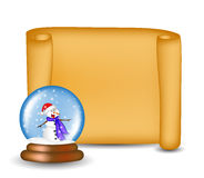 Christmas paper scroll card with snowglobe. Vector illustration isolated on white background. Royalty Free Stock Images