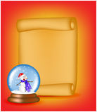 Christmas paper scroll card with snowglobe. Vector illustration isolated on white background. Royalty Free Stock Image