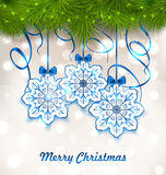 Christmas Paper Snowflakes with Fir Twigs Royalty Free Stock Image