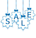 Christmas paper snowflakes with lettering sale Royalty Free Stock Image