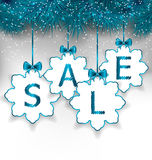 Christmas paper snowflakes with lettering sale Royalty Free Stock Photography