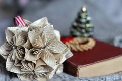 Christmas paper star. Handmade traditional decoration Stock Photography