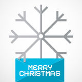 Christmas Paper Title with Snow Flake. Vector Merry Christmas Paper Title with Snow Flake Stock Photo