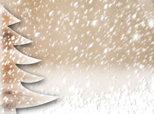 Christmas paper tree on the snow-covered background Royalty Free Stock Photography