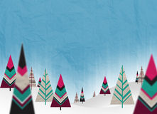 Christmas paper trees. With snow and cuan background Stock Photo