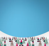 Christmas paper trees. With snow and cuan background Stock Photos
