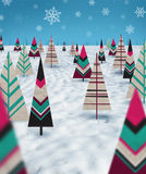 Christmas paper trees. With snow and cuan background Royalty Free Stock Image