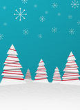 Christmas paper trees. With snow and cuan background Royalty Free Stock Photos