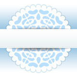 Christmas papercut doily snowflake greeting card template in blue and white, vector. Christmas papercut doily snowflake greeting card template, vector background Royalty Free Stock Image