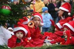 Christmas Parade. Children on Christmas Parade Float in Blowing Rock, North Carolina, November Annual Christmas Parade royalty free stock photography