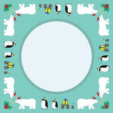 Christmas parade friends. With polar bear and penguin and cherry corner mint color background Stock Photo