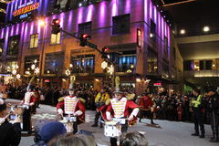Christmas Parade. Group of Drummers performs on the street during Christmas Parade Stock Photos