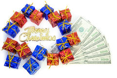 Christmas parcels with dollar Stock Photos