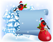 Christmas parchment with bullfinches in Santa Claus hat Stock Photos