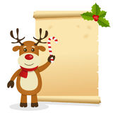 Christmas Parchment with Reindeer Stock Image