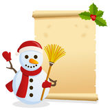 Christmas Parchment with Snowman. Christmas invitation card with a snowman holding a broom and an old parchment scroll. Empty space for your message. Useful also stock illustration
