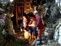Christmas,shepherds,cribs,christmas markets. Part of cribs with three  shepherds and  barrels Stock Photography