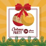 Christmas part invitation card. Icon vector illustration graphic design Royalty Free Stock Photos
