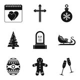 Christmas parties icons set, simple style. Christmas parties icons set. Simple set of 9 christmas parties vector icons for web isolated on white background Stock Photography