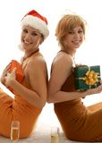 Christmas party. Who beauties celebrating christmas Stock Image
