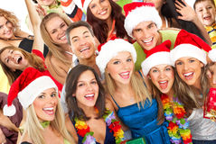 Christmas party. Happy funny people. Christmas party Stock Image