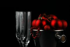 Christmas party. Close up of Christmas decorations in a bucket Stock Photography