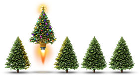 Christmas Party. With a group of evergreen trees and one fun decorated ornamental pine blasting off with a rocket booster as a cheerful festive winter season Stock Image