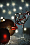 Christmas party. Ornament and martini glass Royalty Free Stock Image