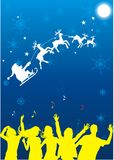 Christmas party. With flying Santa Claus background and people dancing vector illustration