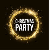 Christmas party. Abstract magical glowing golden banner of neon woven stripes. Gold dust and glare bokeh. Celebratory banner stock illustration