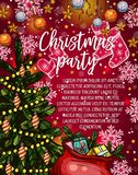 Christmas party banner with Xmas tree and gift Stock Photography