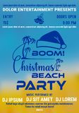 Christmas party at the beach poster or flyer template with palm and santas hat royalty free illustration