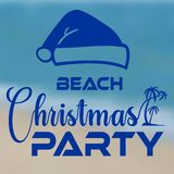 Christmas party at the beach banner seashore with santa hat stock illustration