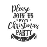 Christmas Party Black And White Invitation Card Design Template With Calligraphic Text Stock Photos