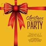 Christmas party card with colorful decorative ribbon in yellow background. Vector illustration Stock Photos