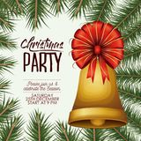 Christmas party card with colorful pine branches and bell with decorative ribbon. Vector illustration Stock Images