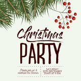 Christmas party card with colorful pine branches with fruits in white background. Vector illustration Royalty Free Stock Photos